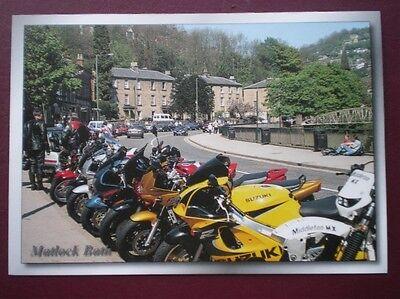 POSTCARD DERBYSHIRE MATLOCK BATH -LOTS OF MOTOR CYCLES