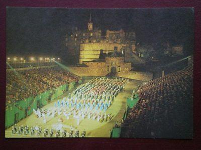 POSTCARD EDINBURGH MILITARY TATTOO ON THE CASTLE ESPLANDE AT NIGHT