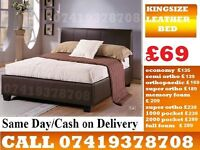 KING SIZE LEATHER BED FRAME WITH MATTRESS OPTIONS