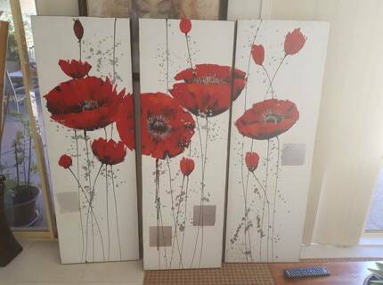 Poppy canvas x 3