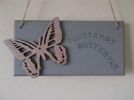 hanging butterfly wooden plaque