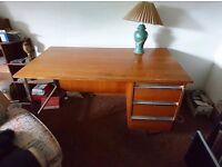 Teak veneer single pedestal office desk - 4ft 6in wide