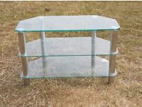 TV STAND CLEAR GLASS and SILVER METAL