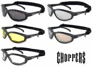 Choppers-Motorcycle-Biker-Sunglasses-Goggles-with-Strap-Choose-Lens-Color