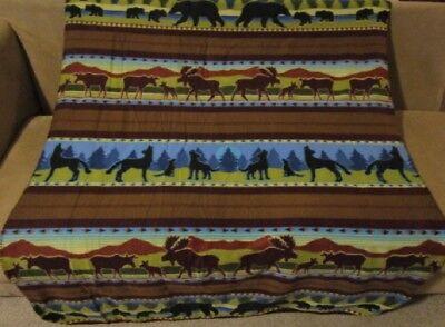 New Brown Wolf Moose Southwest Fleece Throw Gift Blanket Rev