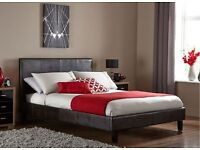 DOUBLE /SMALL DOUBLE LEATHER BED WITH SEMI ORTHOPAEDIC MATTRESS 3FT 4 FT 5FT 6FT