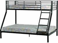 BEST SELLING STOCK NEW BLACK AND WHITE METAL SINGLE TRIO SLEEPER BUNK BED + 3FT ORTHOPEDIC MATTRESS