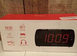 DreamSky Digital Alarm Clock Radio with USB Charging Port, FM Radios AUX LED