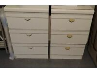 Pair of white bed side 3x drawers
