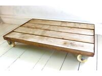 VINTAGE INDUSTRIAL TROLLEY / COFFEE TABLE