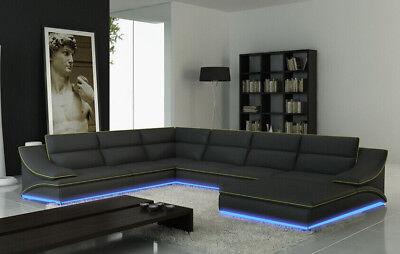 Leder Sitzgarnitur Sofa (Ecksofa Leder Sofa Couch Polster Eck Sitz Wohnlandschaft Garnitur L Form A1160B)