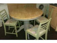Shabby chic extending pine table & 4 chairs