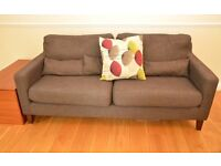 Dwell Arden two seater sofa light grey with cushions