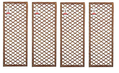 Pack of 4 Framed Willow Trellis Panel - Trellises