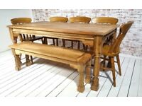 Natural Extendable Farmhouse Dining Table Rustic Hardwood Finish with Matching Benches & Chairs