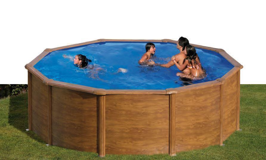 Gre Galapagos Pool-Set Aufstellbecken Rund Holzoptik 120 x Ø 350 cm + Zubehör