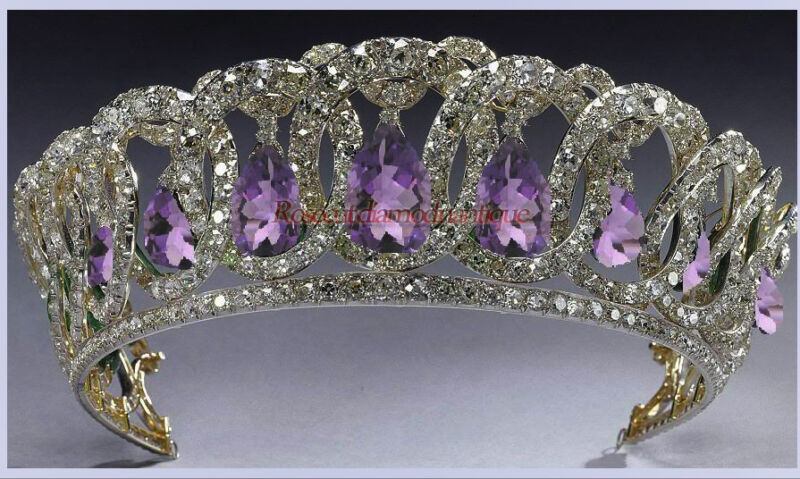 ART DECO VINTAGE ROSE CUT DIAMOND 12.82ct SILVER AMETHYST ENGAGEMENT TIARA CROWN