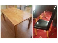 Solid Oak Dining Table 150cm & 6 Black High Back Leather Chairs Oak Legs FREE DELIVERY 002a