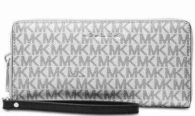 Michael Kors Signature Logo Jet Set Travel Continental Wristlet Purse - Silver