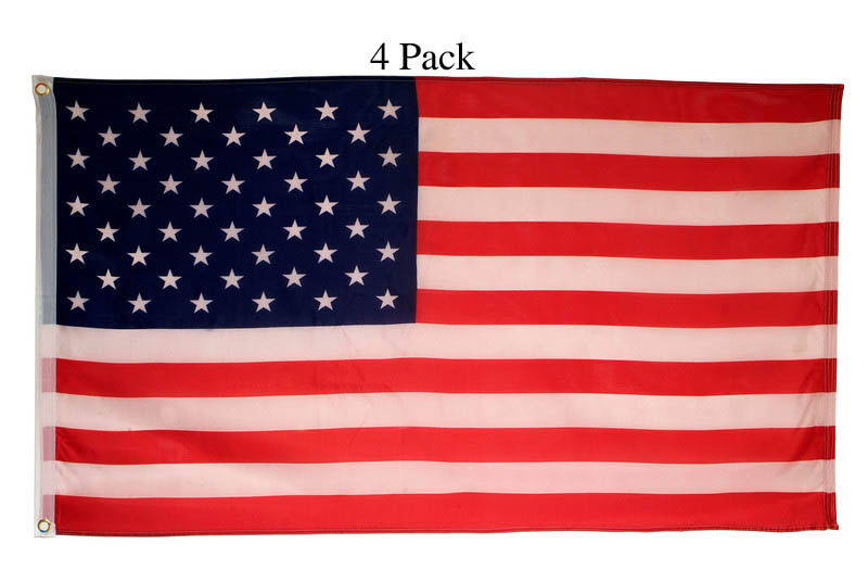 4 Big 3 x 5 Polyester American Flag USA Flag with Grommets United States