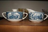 Vintage creamer & sugar bowl Steam Boat and Train