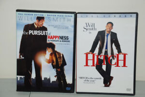 2 x DVD MOVIE - WILL SMITH - HITCH, THE PURSUIT OF HAPINESS