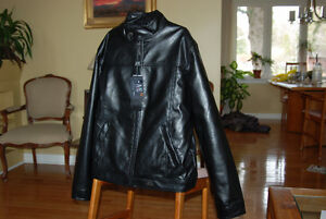 Emporio Collezione Black Leather Jacket Large NEW WITH TAGS