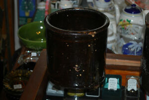 RARE LOCAL POTTERY - 2 VERY OLD ANTIQUE DRIP GLAZE CROCKS