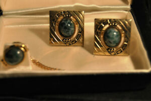 Vintage Jade Stone Men  Cufflinks