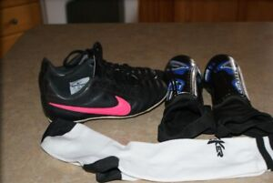 soccer cleats, shin pads and socks