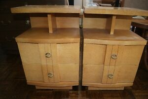 2 vintage solid wood Retro end tables / night stands