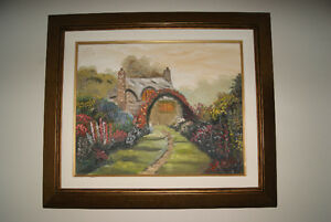 BEAUTIFUL VINTAGE 16X20 OIL ON CANVAS PAINTING HOUSE WITH GARDEN
