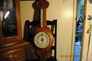 Antique Oak Aneroid Barometer Thermometer 19th Century Victorian