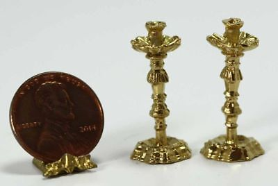 Dollhouse Miniature Set of Decorative Gold Candlesticks