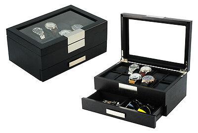 Black Wood Storage - Top Quality Executive Black wood 10-Watch Storage and Jewelry Box (Busy man)