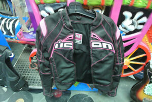 Icon ladies motor cycle jacket Vest and boots