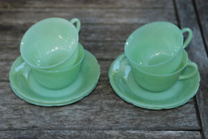 Vintage Fire King Jadeite Alice cups and saucers
