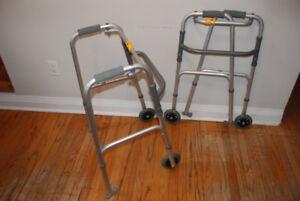Two folding walkers.