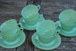 Vintage Fire King Jadeite tea cups and saucers