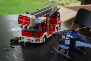 Playmobil Firetruck and police helicopter