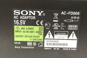Sony AC Adapter OEM Power Supply AC-FD006 For LCD TV