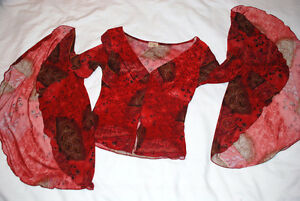 XS Juniors Girl Top Blouse Rose Floral Spanish STYLE, Club wear,