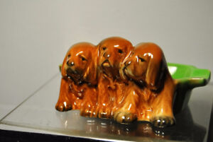 Beswick (Doulton) 3 x Cocker Spaniel Puppies on an Ashtray #916