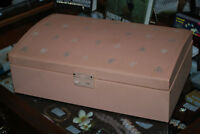 LARGE Light Pink Farrington 1950's Two Tier Vintage Jewelry Box