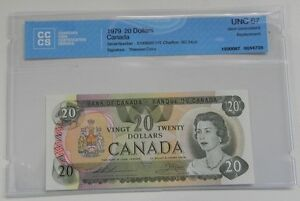 1979 Bank of Canada $20 Replacement Note CCCS Certified UNC-67