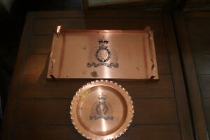 VINTAGE COPPER RCMP TRAY AND PLATE