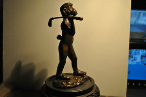 Vintage Bronze Sculpture Monkey Golf Club Statue