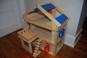 Plan Toys Wooden Dollhouse with Furniture and Family