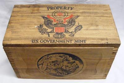 Coin Crate Property Of Us Government Denver Mint  Wooden Dovetail Box 1913