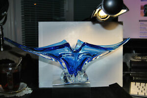 Mid Century Modern Art Glass Blue Clear Vintage Canada